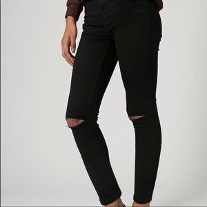 Topshop Moto Black Distressed High-Rise Jeans
